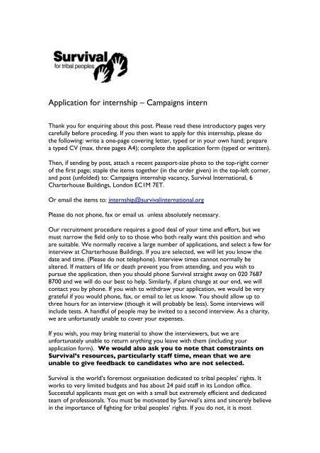 Application For Internship ã â â Campaigns Intern