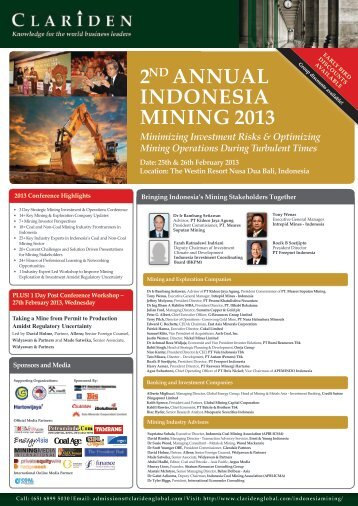 2ND ANNUAL INDONESIA MINING 2013 - Clariden Global