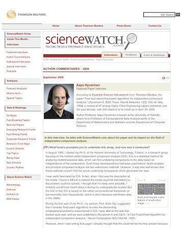 Interviews - ScienceWatch.com