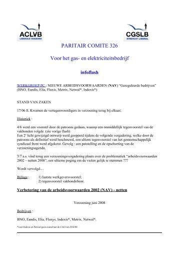 PARITAIR COMITE 326 Voor het gas- en elektriciteitsbedrijf - Aclvb