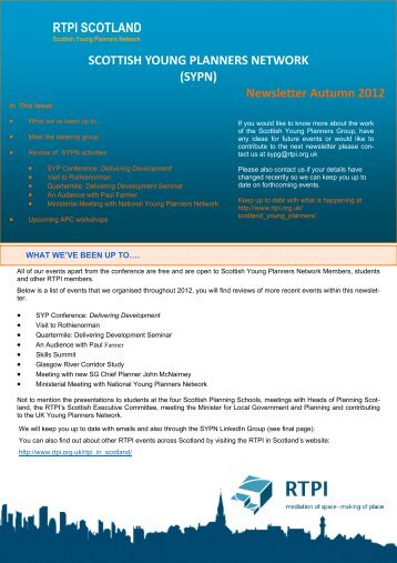 SYPN Newsletter Autumn 2012 - Royal Town Planning Institute