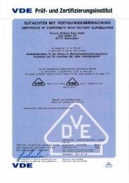 Vde-Zertifikat: E831, E832, E833, E834 - F-tronic