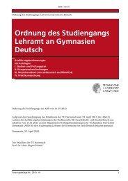 Ordnung des Studiengangs Lehramt an Gymnasien Deutsch