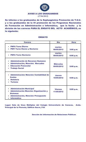 fechas actos de grado - Colegio Universitario de Caracas