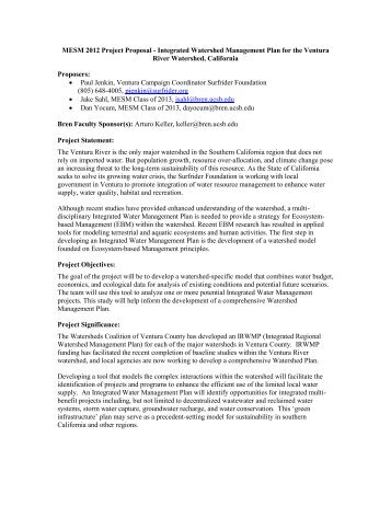 MESM 2012 Project Proposal - Integrated Watershed Management ...