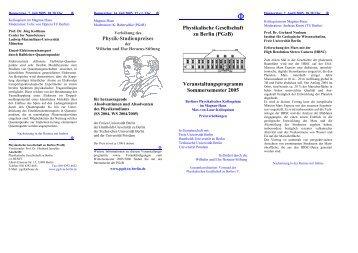Veranstaltungsprogramm Sommersemester 2005 - Physikalische ...