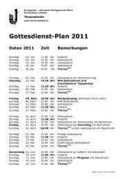 Gottesdienst-Plan 2011 - Kirchenkreis Liebefeld
