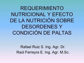 Requerimiento nutricional y efecto de la nutrición sobre ... - Platina