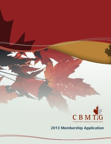 2013 Membership Application - CBMTG