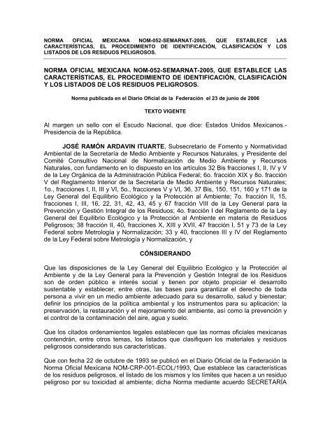 NORMA OFICIAL MEXICANA NOM-052-SEMARNAT-2005, QUE ...