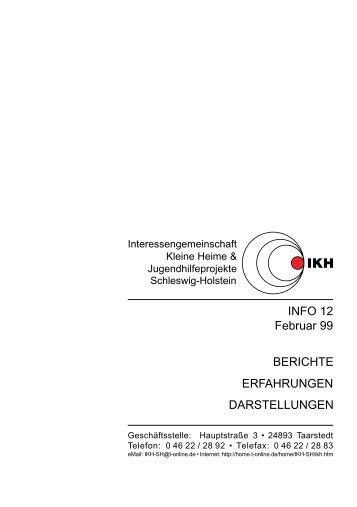 Info 12 - Interessengemeinschaft Kleine Heime & Jugendhilfeprojekte