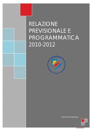 Relazione Previsionale e Programmatica 2010 - Comune di Sedriano