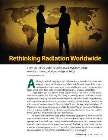 Rethinking Radiation Worldwide - American Roentgen Ray Society