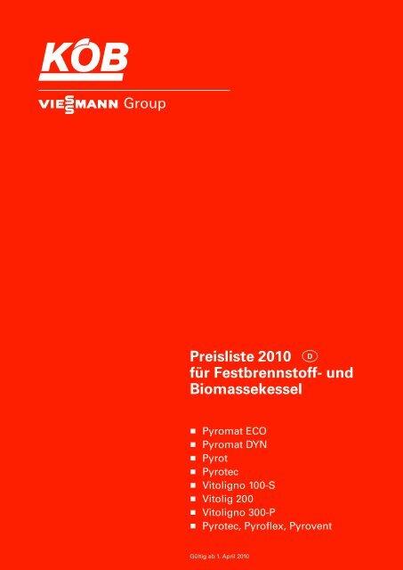 Preisliste 2010 für Festbrennstoff- und Biomassekessel