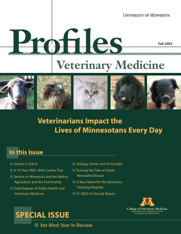 Fall 2003 - University of Minnesota College of Veterinary Medicine
