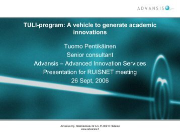 TULI-program: A vehicle to generate academic innovations ... - Ruisnet