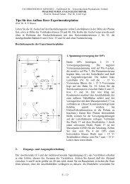 Tips für den Aufbau der Experimentierplatine