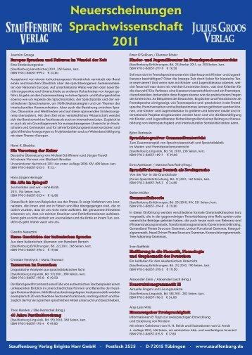 Neuerscheinungen Sprachwissenschaft 2011 - Stauffenburg Verlag