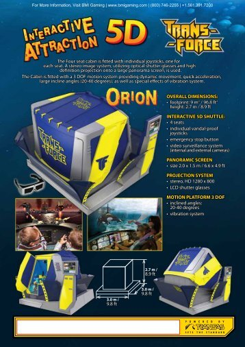 Orion 5D Motion Ride Brochure - BMI Gaming