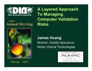 A Layered Approach To Managing Computer Validation Risks - Almac