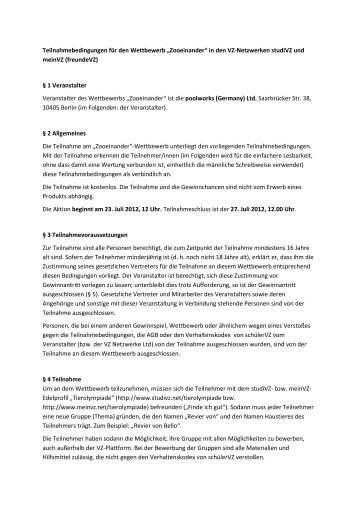 """Teilnahmebedingungen für den Wettbewerb """"Zooeinander ... - studiVZ"""