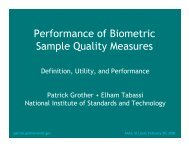 Performance of Biometric Sample Quality Measures - NIST Visual ...