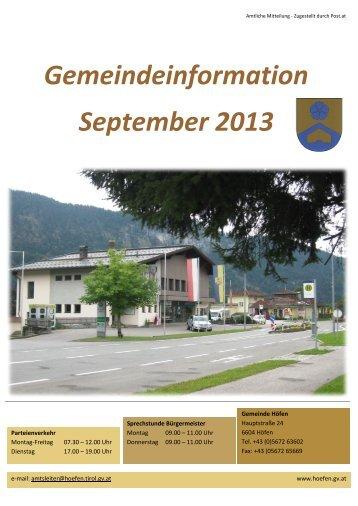 Gemeindeinformation September 2013 - Naturparkgemeinde Höfen
