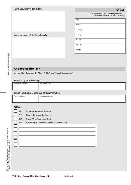 6132 Angebotsschreiben Zentraler Thã¼ringer Formularservice