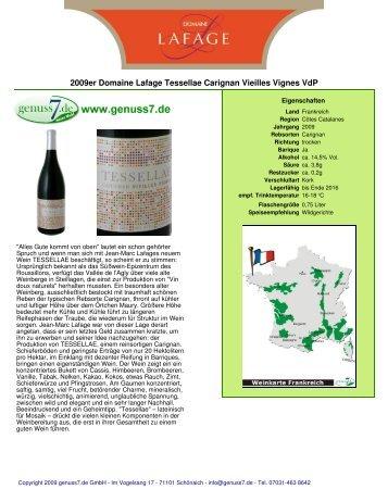 2009er Domaine Lafage Tessellae Carignan Vieilles ... - Genuss7.de