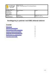 Handläggning av patienter med ESBL-bildande bakterier Innehåll ...