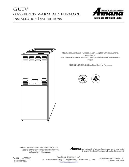 gas-fired warm air furnace installation instructions - Day ... on