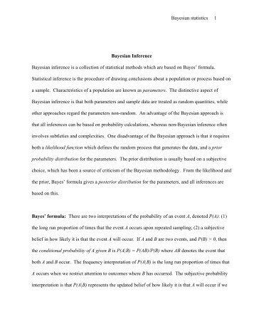 Bayesian statistics 1 Bayesian Inference Bayesian ... - Rice University