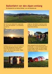 Ballonfahrt vor den Alpen entlang