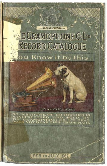 His Master's Voice General Catalogue February-July 1911