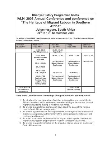 Programme - International Association of Labour History Institutions