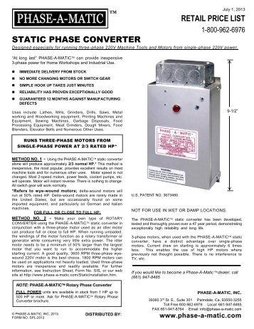 Static Converter Brochure - Phase-A-Matic, Inc.