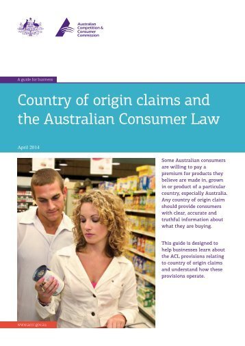 Country of origin and the Australian Consumer Law
