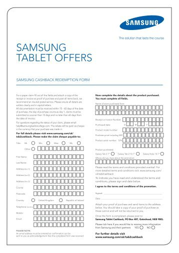 Samsung cashback redemption form - E-Merchant