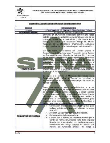 Coordinador de trabajo seguro en alturas - Sena