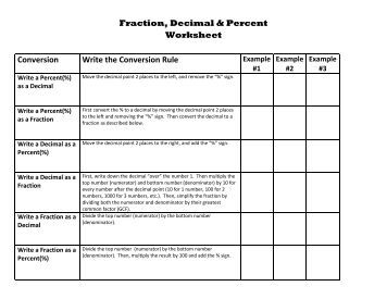 Number Names Worksheets fraction percent decimal worksheets : Arith. 09: Fraction-Percent and Decimal-Percent Conversions