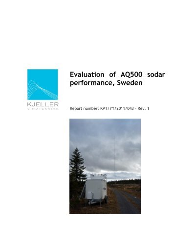 Evaluation of AQ500 sodar performance, Sweden