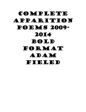 COMPLETE APPARITION POEMS 2009- 2014 BOLD FORMAT