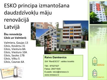 Esko principu izmantošana daudzdzīvokļu māju renovēšanā Latvijā
