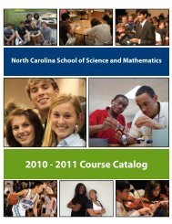 2010 - 2011 Course Catalog - North Carolina School of Science and ...