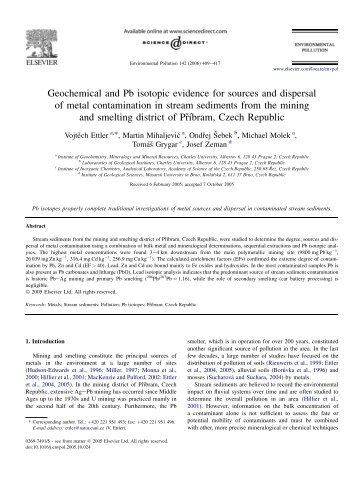 Geochemical and Pb isotopic evidence for sources and dispersal of ...