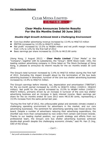 2 Aug 2012 Clear Media Announces Interim Results for the Six ...
