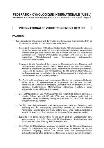 Internationales Zuchtreglement der FCI