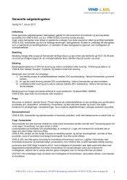 Generelle salgsbetingelser - VIND & SOL
