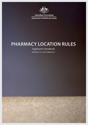 Pharmacy Location Rules Applicant's Handbook - Department of ...
