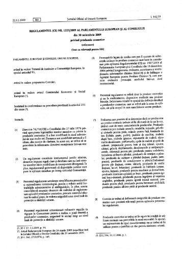 REGULAMENTUL (CE) NR. 1223/2009 - privind produsele cosmetice